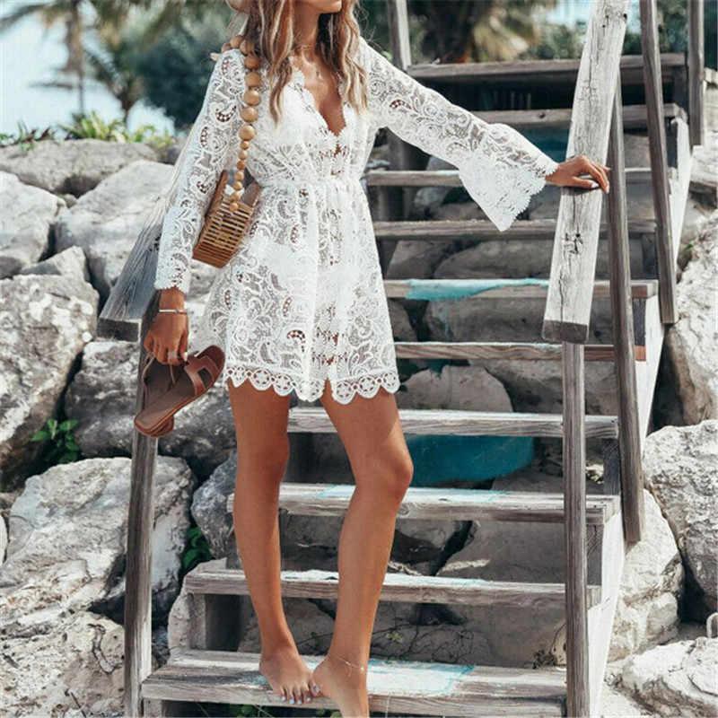 2019 nuevo verano Mujer Bikini cubrir Floral encaje crochet hueco traje de baño cubrir-Ups traje de baño playa túnica Vestido de playa caliente