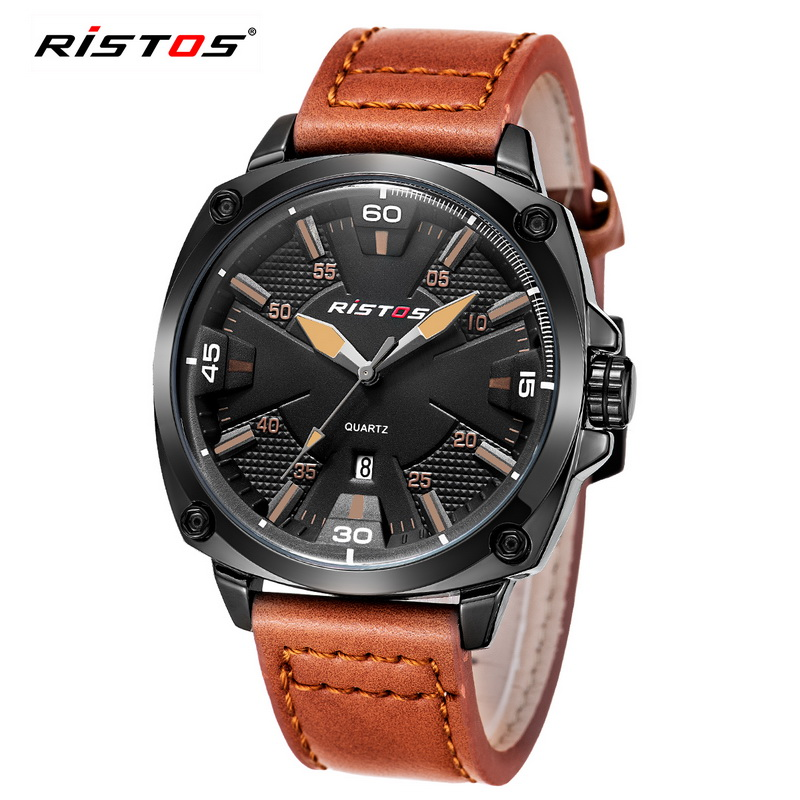 2017 Ristos Brand Men's Fashion Casual Sport Watches Men Waterproof Leather Quartz Watch Man Military Clock relogio masculino 2017 new top fashion time limited relogio masculino mans watches sale sport watch blacl waterproof case quartz man wristwatches
