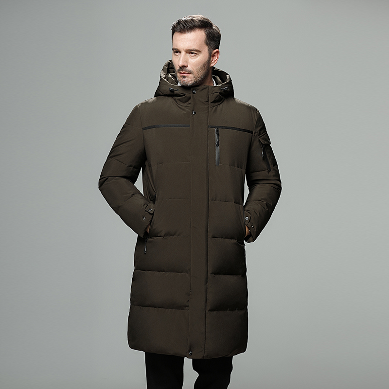 Casual & Business Long Down Coat Men Thick Thermal 90% White Duck Down Jacket Men Winter Jacket For Men -40 Degree Size 5XL