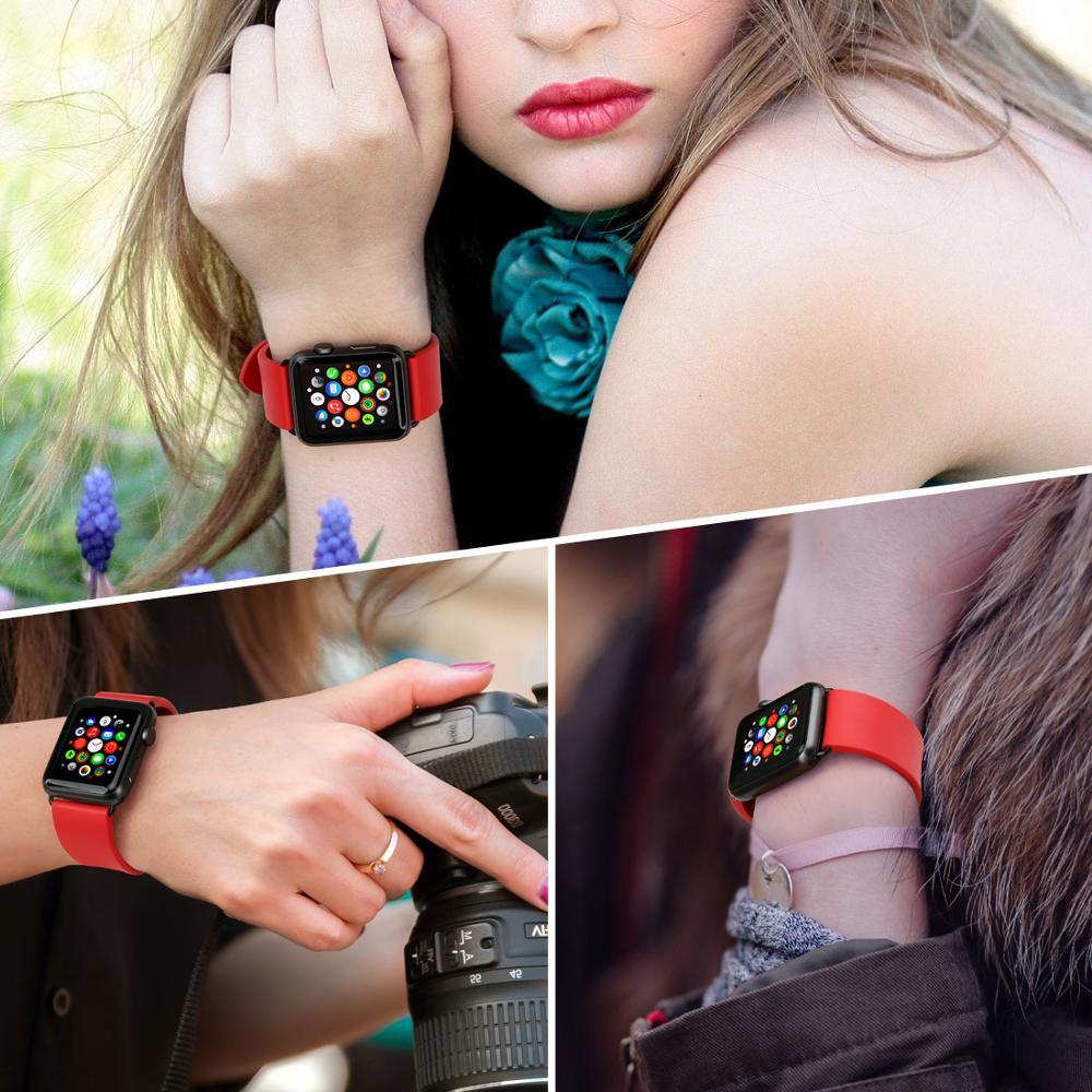 MAIKES Armband für Apple Uhrenarmbänder 42mm 38mm Serie 4 3 2 1 - Uhrenzubehör - Foto 5