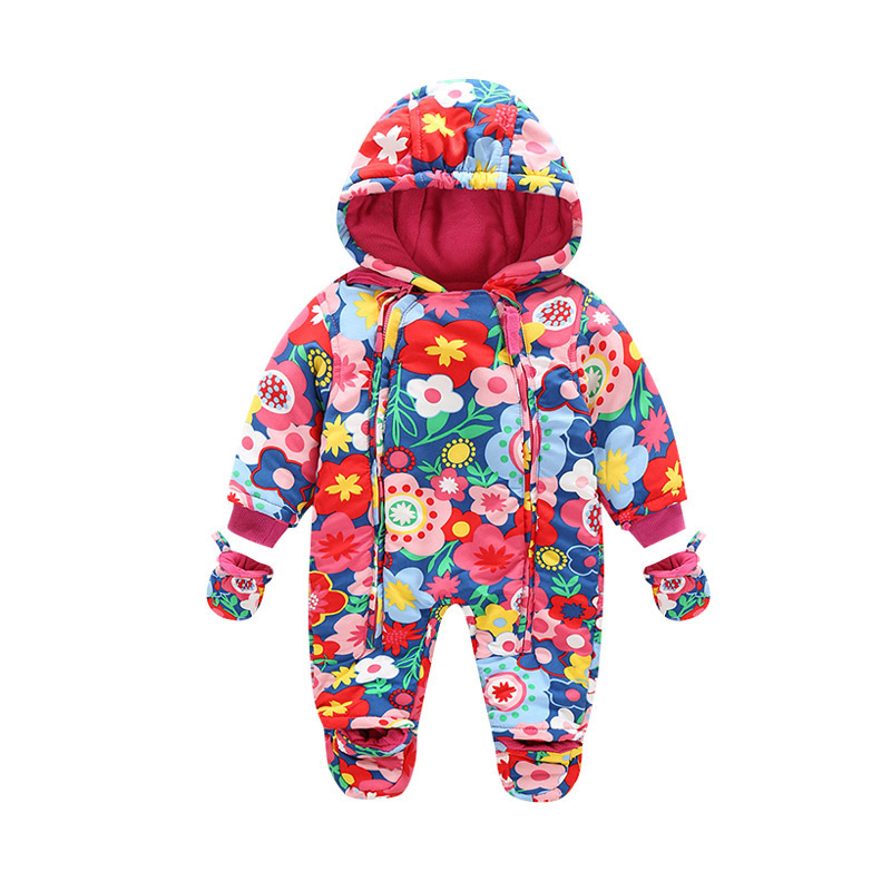 Baby Rompers Winter Thick Warm Baby Boy Clothing Long Sleeve Hooded Jumpsuit Infant Baby Girls Clothes Kids Newborn Baby Outwear winter baby rompers organic cotton baby hooded snowsuit jumpsuit long sleeve thick warm baby girls boy romper newborn clothing