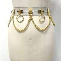 Customised Handmade Unisex Men Women Clear Gold Waist Belt Heavy Duty Viny Gothic Bondage Circle Metal Chain Link Waist Strap
