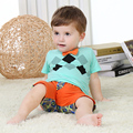 Summer Boy Clothing Sets Plaid Little Gentleman Infant Sets Top Shirts Trousers Pants Short Sleeve Children Baby Clothes