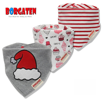 3pcs 100% Cotton Baby Scarf Muslin Burp Cloth Bandana Bibs Newborn Baby Boy Infant Girl Toddler Winter Scarf Waterproof Bib 1