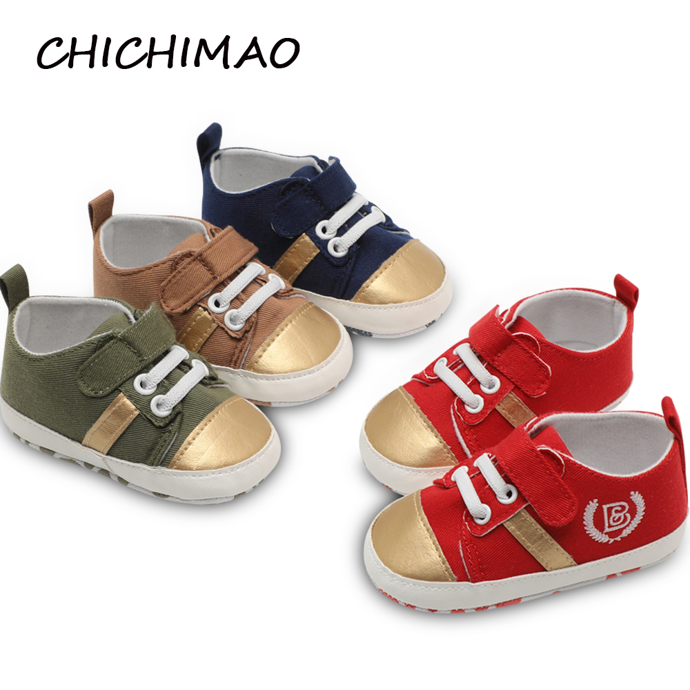 CHICHIMAO Spring Autumn Newborn Baby Moccasins Crib Shoes Canvas Toddler Baby Shoes Girls Boys First Walkers Bebe Baby Sneakers