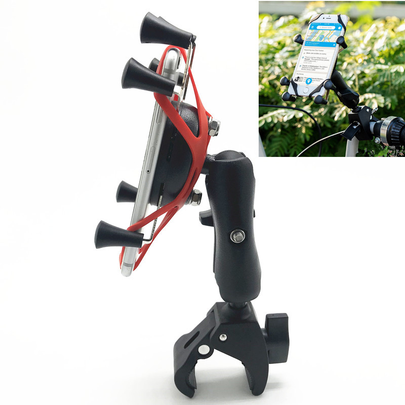 Bicycle Handlebar Tough Claw Clamp Mount with Universal X Grip Phone Holder for ram mounts|Photo Studio Accessories| |  - title=