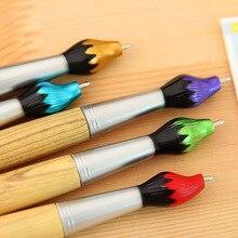 Stationery Ballpoint-Pen Wooden Brush-Style School-Supplies Office Student 1pcs Creative