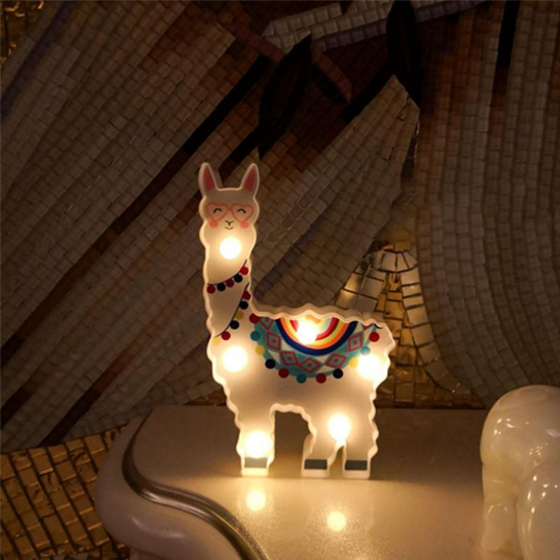 6leds Alpaca Modelling Battery Powered Night Lamp
