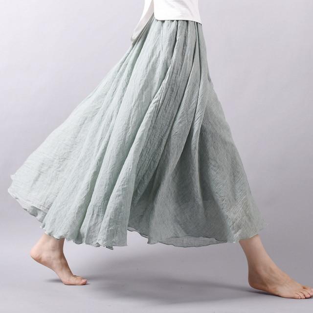 Faldas largas de algodón de lino para mujer, maxifalda plisada de cintura elástica, faldas Vintage de playa para verano del 2019, novedad en faldas Vintage Chic