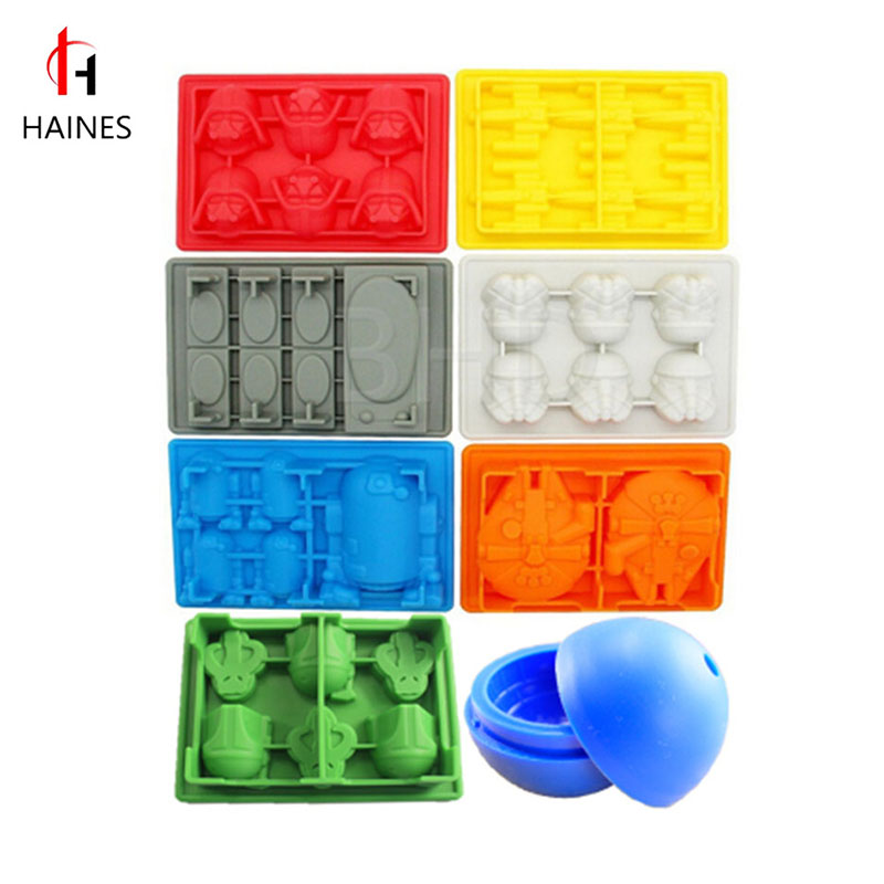 HAINES 2017 New 8pcs set Silicone Ice Cube Molds Cookies Chocolate Baking Kitchen Tool DIY Ice