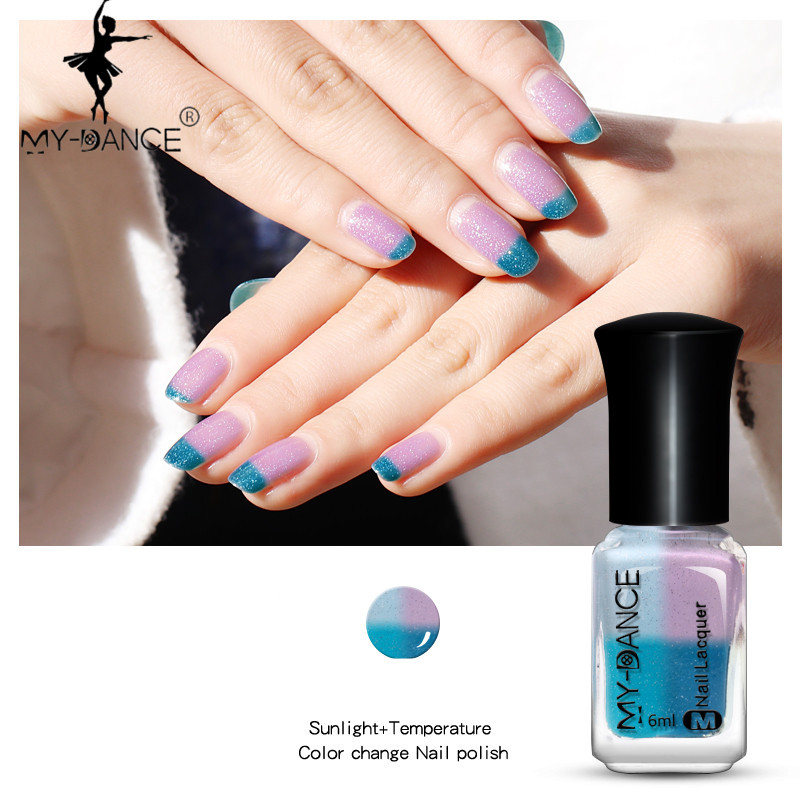 MYDANCE 2017 Hot Fashion Water-based Temperature sunlight Colour Changing Nail Polish Peel Off Varnish Thermal Nail Polish