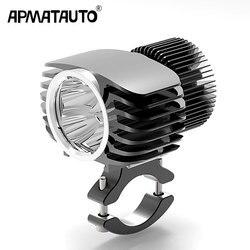 Apmatauto 1x led farol externo do carro 18 w 15 10 6 branco alto/baixo motocicleta drl spotlight drive nevoeiro luzes do ponto