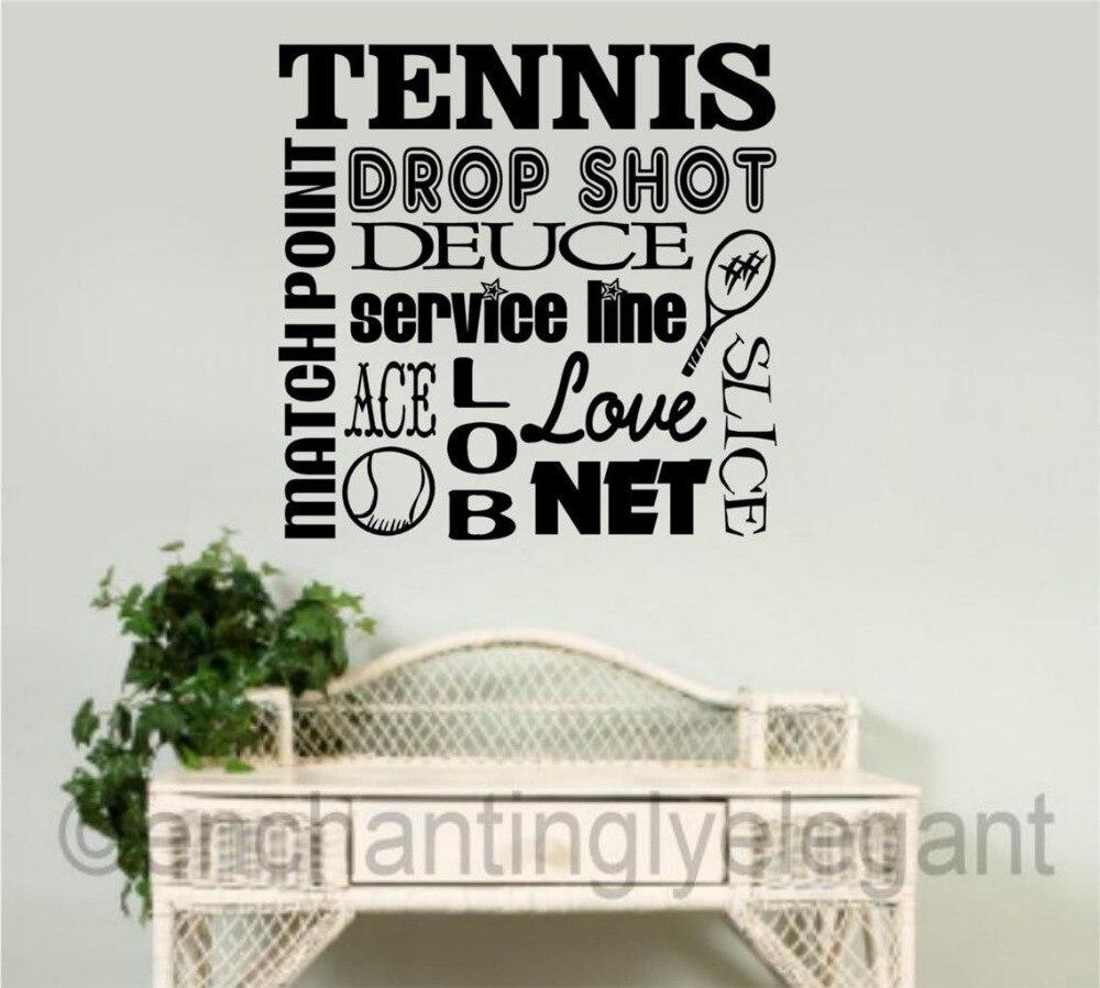 Tennis Sports Vinyl Wall Decal Lettering Tennis Word