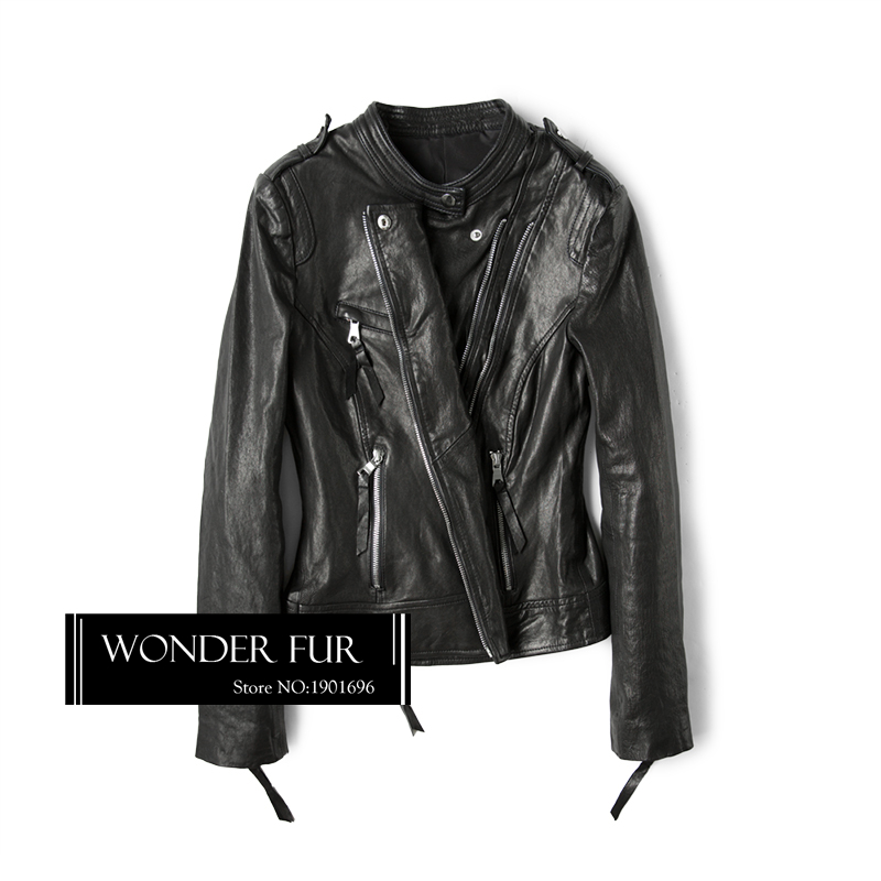 Cuir Peau Conception Veste Moutons Flocage Leather Leather Mouton wine Moto Style Cool Modèle Biker De Vintage Véritable Punk Manteau En Black Dames x7Yw4x