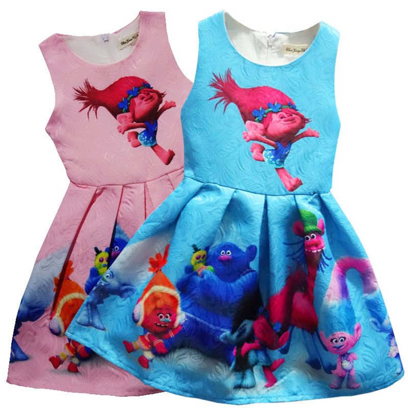 2017 2-9Y Costume Baby Girls Dress Summer Children Clothing Print Party Birthday Kids Clothes Casual Trolls Dresses Vestidos summer seaside girls dresses children korean style clothing big girl casual striped costume kids cotton clothes junior vestidos