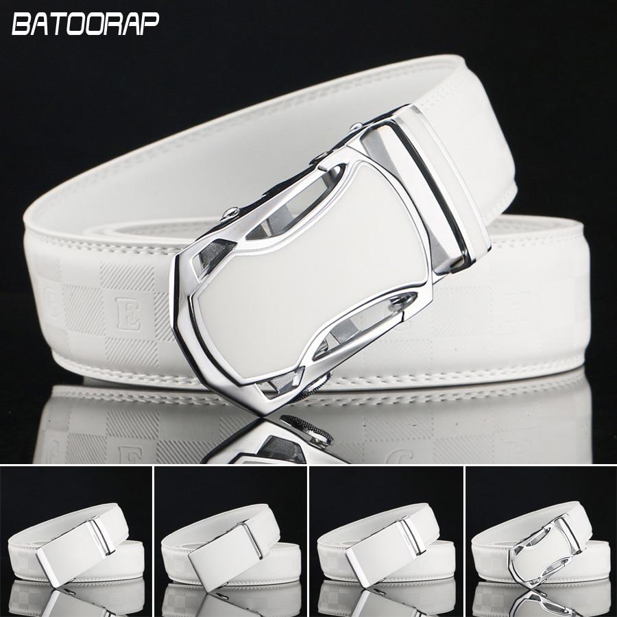 BATOORAP  hommes Ceinture Marque De Luxe ceinture Automatique Boucle  designer ceintures hommes de haute qualité Véritable Cuir Blanc Ceinture  Casual Taille 994ba592b42