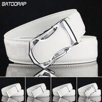 [Batoorap] الرجال حزام حزام التلقائي إبزيم الأحزمة مصمم الرجال الفاخرة عالية الجودة حزام جلد طبيعي أبيض عارضة الخصر