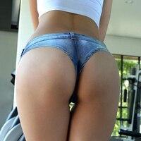 Blue Pole Dancing Sexy Women S Shorts Feminino Jeans Denim Micro Mini Ultra Low Rise Waist