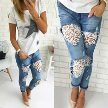 Women Denim Jeans Mid Waist Skinny Jeans Ladies Lace Ripped Hole Female Casual Pencil Pants Trousers Women Summer Denim Pant H40