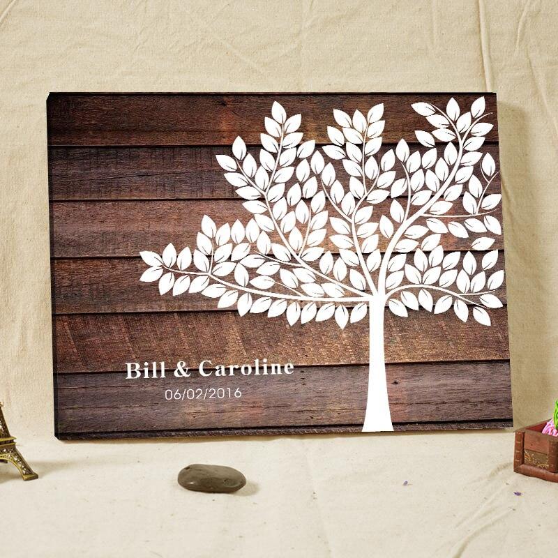 Woodgrain 배경 캔버스 인쇄 맞춤 서명 방명록 나무 지문 트리 방명록 손님을위한 웨딩 선물