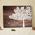Woodgrain Background Canvas Printing Customized Signature Guestbook Wood Fingerprint Tree Guest Book Wedding Gifts for Guests