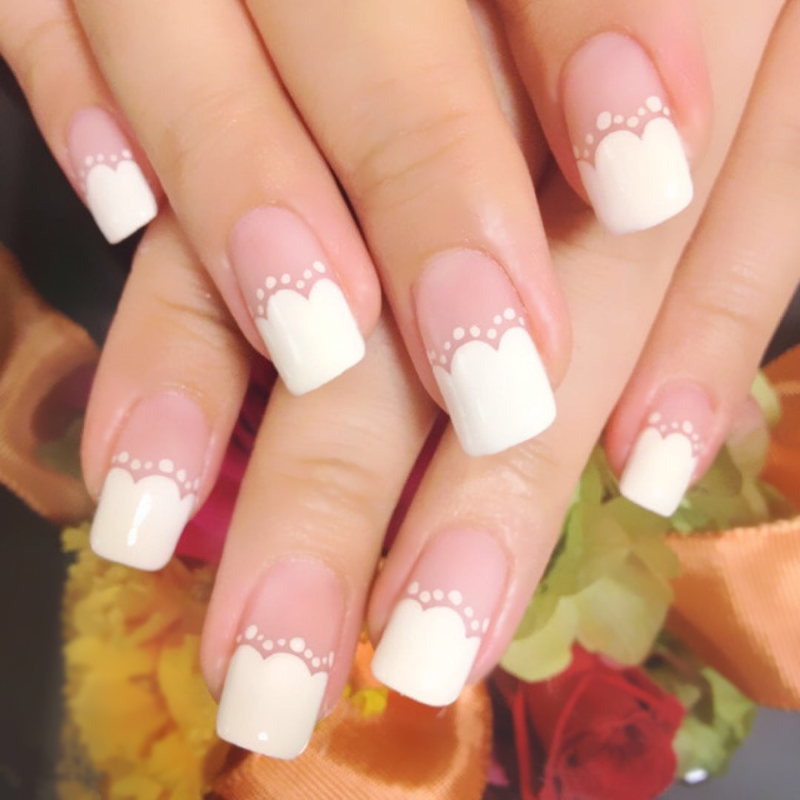 Pattern in French joker contracted fake nails of long nail glue-in False Nails from Beauty & Health    2
