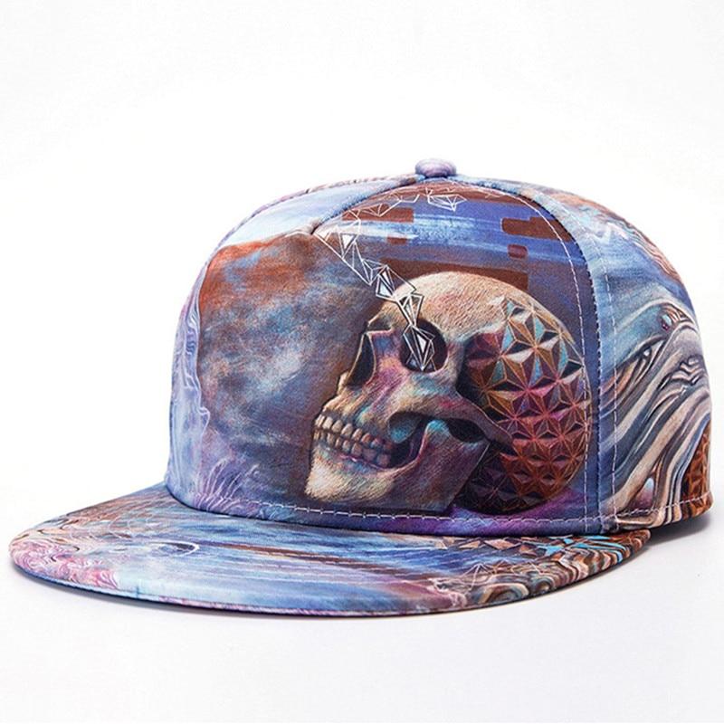 New 3D Skull Flat Snapback Baseball Caps skateboard cap stras