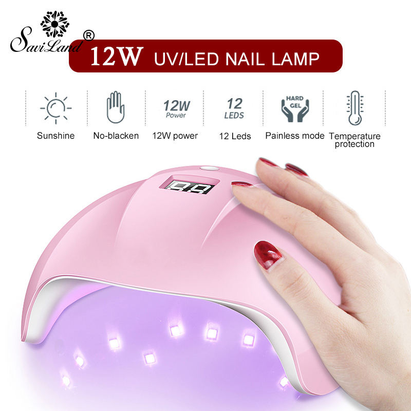 Saviland 12W USB Nail Dryer UV LED Lamp With LED Screen Nail Lamp 30S 60 S 99S 12 Beads For Manicure Drying All Nail Polish