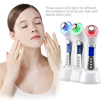 3Mhz Ultrasonic Ion Facial Cleaner Cleaning Massager Beauty Device 3 Colors LED Photon Therapy Skin Rejuvenation Wrinkle Removal