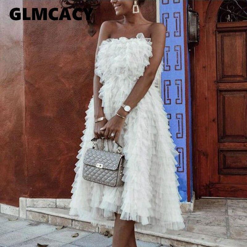 Women Off Shoulder Sweet Ruffles Tube Dress Sexy Summer White Chic Midi Dress Elegant Party Evening Vestidos