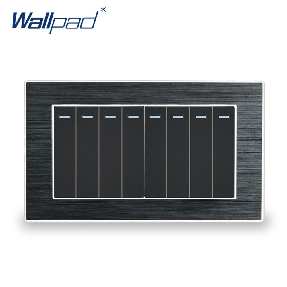 8 Gang 1 voie Interrupteur Wallpad luxe applique murale Interrupteur panneau en métal satiné avec bordure en argent 146*86mm interrupteurs à bascule Interrupteur