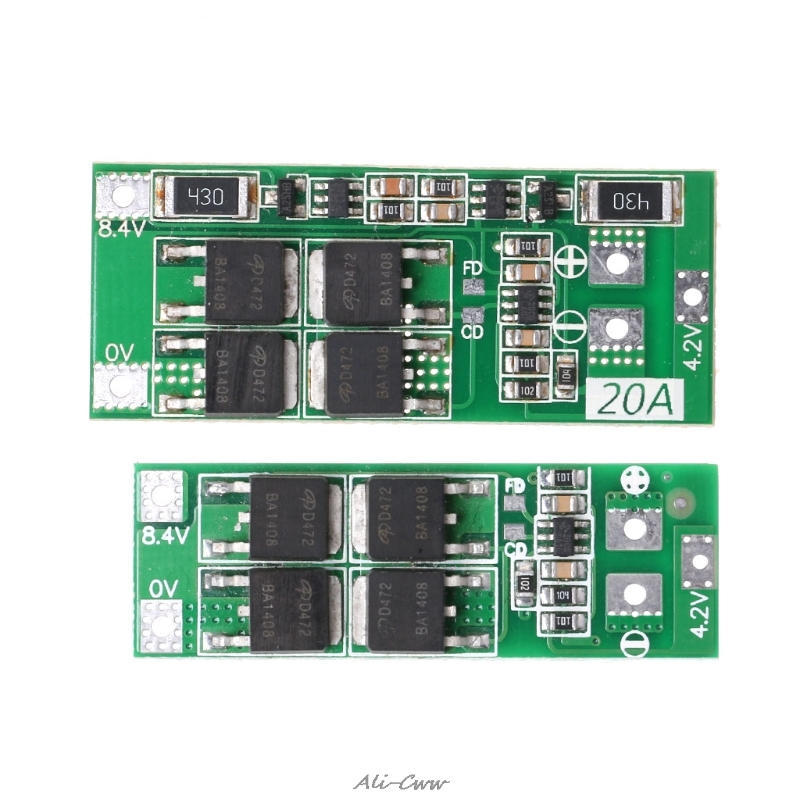 <font><b>2S</b></font> <font><b>20A</b></font> <font><b>7.4V</b></font> 8.4V Li-ion Lithium Battery 18650 Charger PCB BMS Protection Board S927 image
