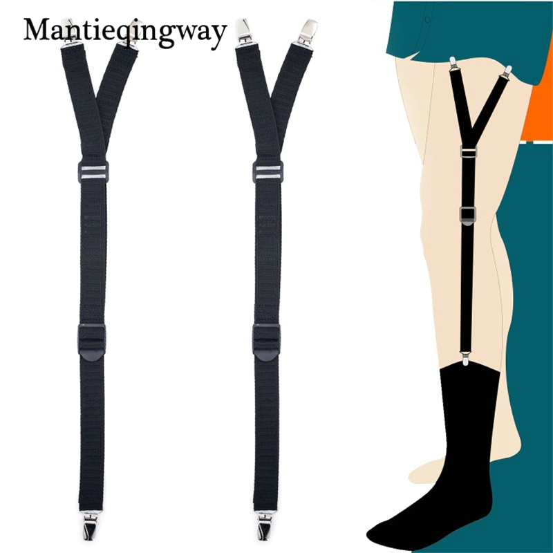 Mantieqingway Business Shirt Stay Holders Garters For Mens Stirrup Style Suspenders Holders Women Adjustable Sock Garters