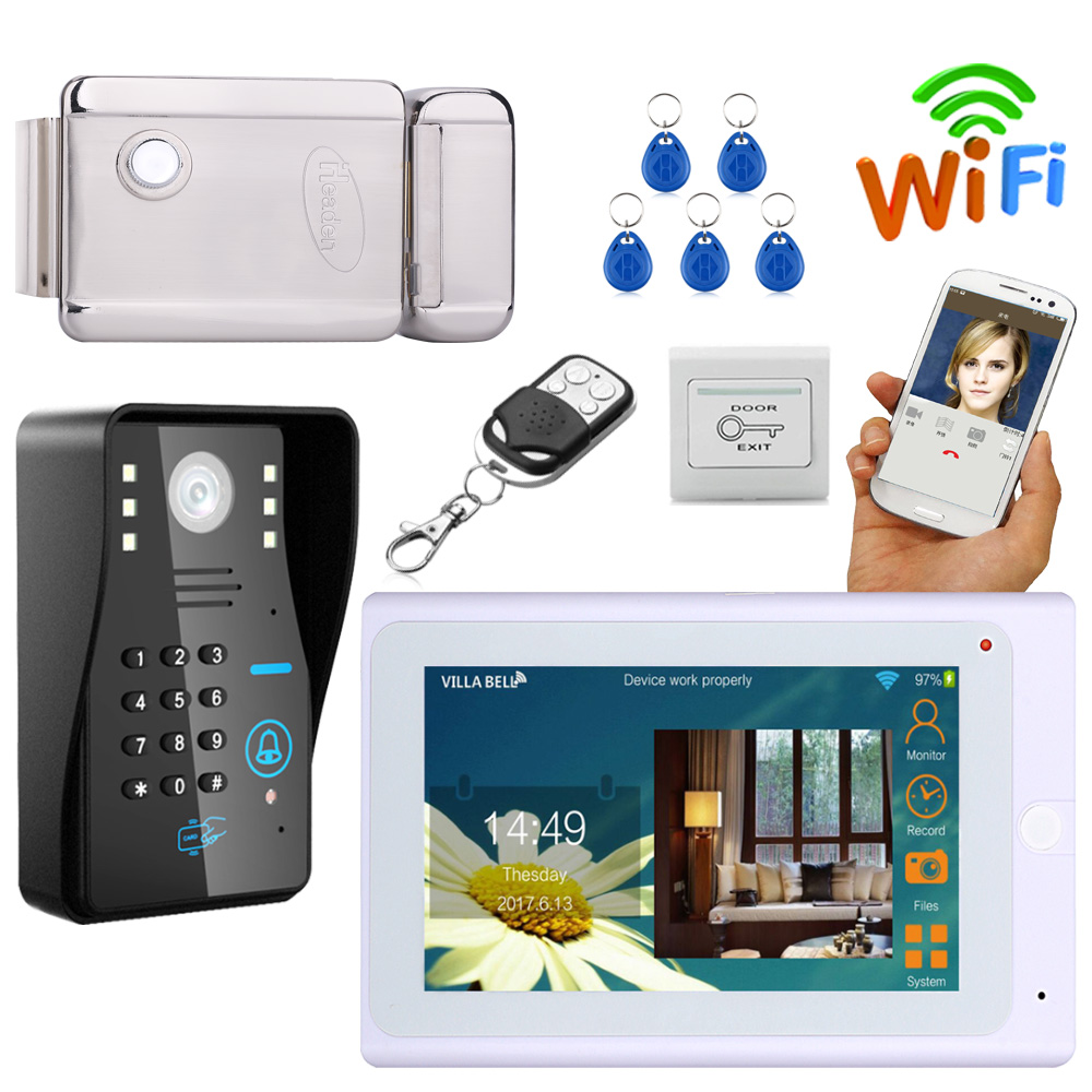 7 Monitor Wired /Wireless Wifi IP Video Door Phone Video Intercom Doorbell System with Lock/Card/Exit button/remote controler