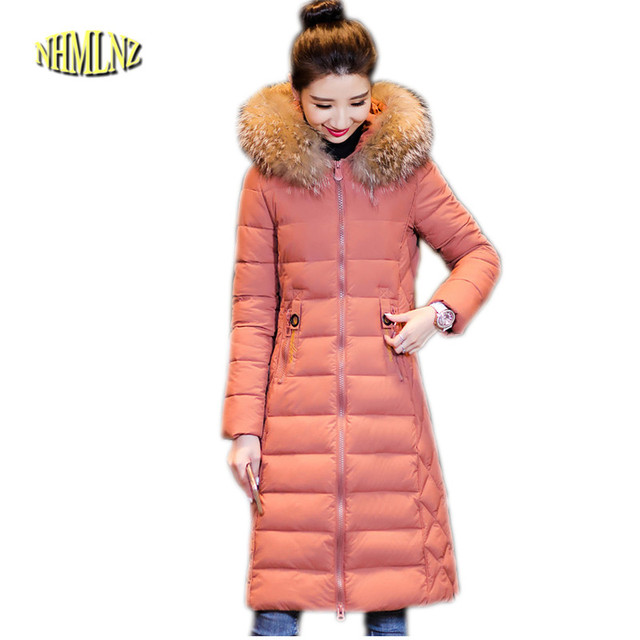 eac3aa7b2 2019 nouvelle veste hiver femmes pardessus épais chaud en coton grande  taille à capuche fourrure col Long Abrigo femme OK618