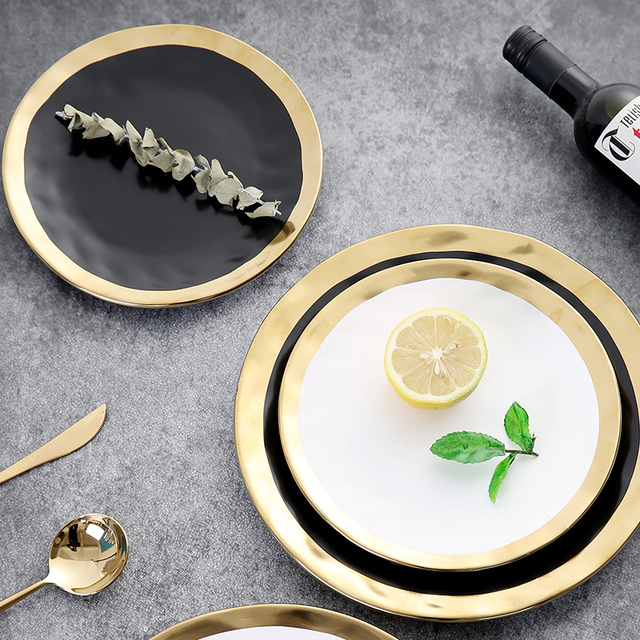 Aliexpress Com Buy European Black And Gold Tableware Set Service Plate Sets Kitchen Appliances Kitchen Suppliesporcelain Plate 8 Inch 10 Inch From