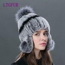 LTGFUR Brand Luxury Fashion Women's Hats Mink Fur Hat For Women Winter Caps Fox Tail Fur Beanies Female Elastic Knitted gorro
