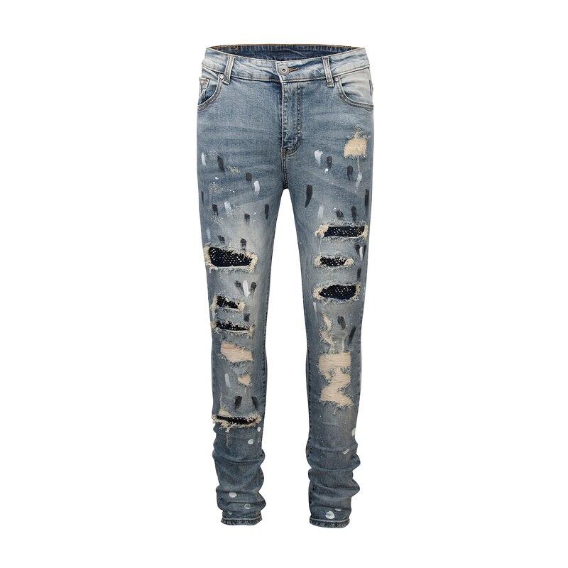 2019 noir icône meilleure qualité hommes coupe ajustée maigre déchiré jean Hiphop haute rue diamant broderie hommes Denim jean pantalon