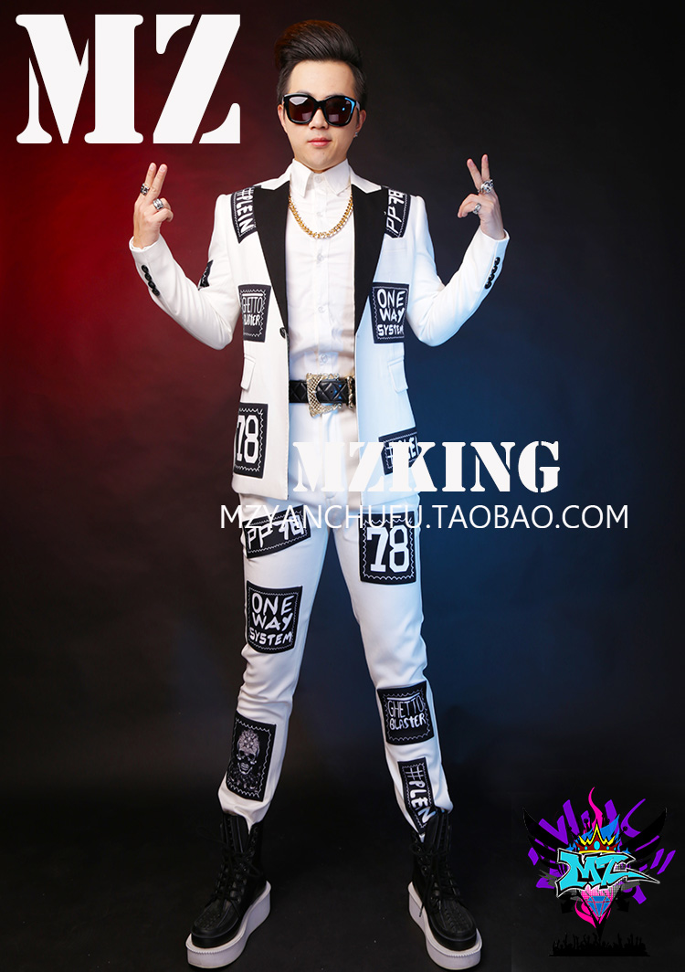 Mode Nouveau Laine Chanteur 2019 5xl Costume And suit Blazer Plus Robe Pants Patch Mince Suit pants Costumes Formelle Blanc Hommes S Vêtements Manteaux Taille La xXqAY45