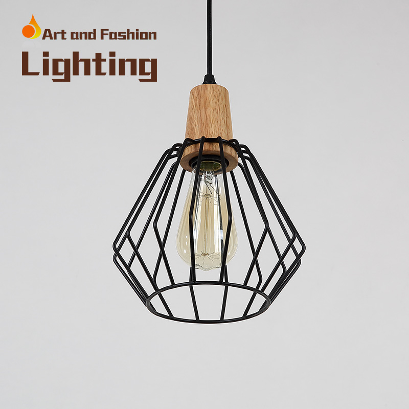 Nordic simplicity light American creative lights for restaurant cafe bar Personality single-head iron wood pendant lampCY-DD-239 classical chinese food industry restaurant bar cafe original wood single head pendant lights rmy 0247