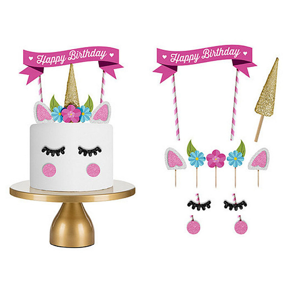 Unicorn Kaleidoscope Cake Flags Cute Paper Cake decoration birthday gift girl boy baby kids children funny toys interactive game