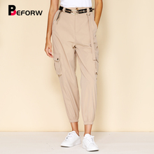 купить BEFORW 2019 Fashion Women Cargo Pants Streetwear Casual Joggers High Waist Pants Ladies Loose Wide Leg Harem Pants Trousers дешево