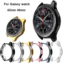 Gear S3 watch case For samsung Galaxy Watch 46mm 42mm band frontier cover soft TPU plated All-Around protective case shell frame protective cover for samsung gear s3 frontier case tpu plated all around protective bumper shell smartwatch r760 cover frame