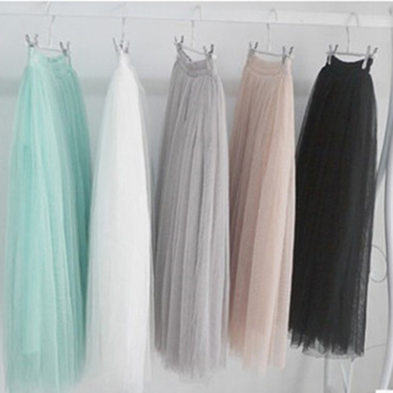 Bigsweety 5 Colors Summer Autumn Fashion Ball Gown Skirts Women Multi Layer Tulle Pleated Retro High Waist Long Maxi Tutu Skirt