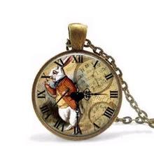 Alice in Wonderland Necklace rabbit watch pendant Fairytale