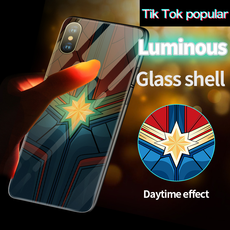 Coque Captain Marvel Batman Iron Man Luminous Glass Phone Case For iPhone XSmax XR XS X 8 7 6s 6 Plus 5 s SE Black Panther Cover marvel glass iphone case