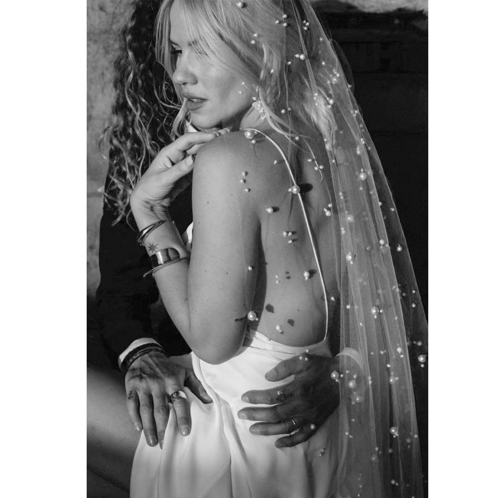 2019 Long 2 M Bridal Wedding Veils Tulle Starry Pearls Luxe Veils For Brides Voile De Mariage Velo De Novia Perles Longue