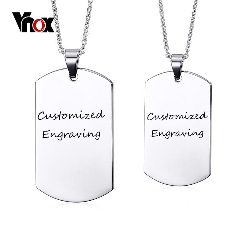 Vnox Customized Engraving Dog Tag Necklace Free Chain 24