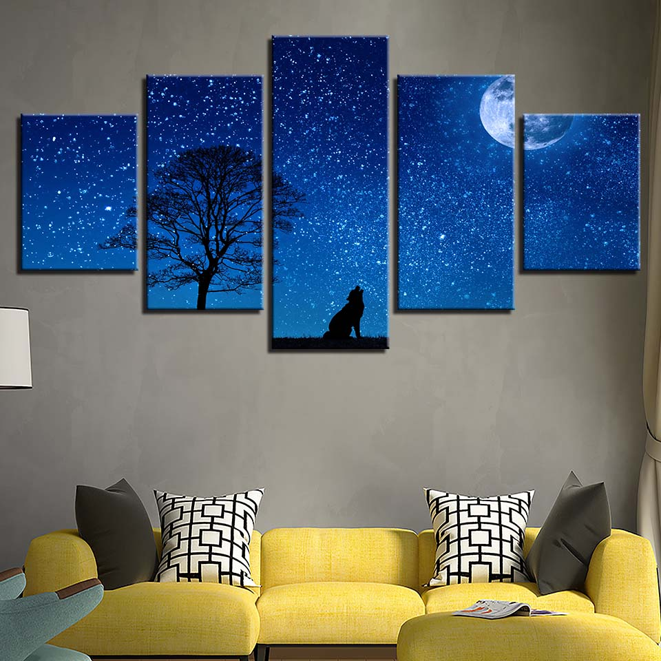 Canvas Hd Prints Wall Art Pictures 5 Pieces Starry Sky