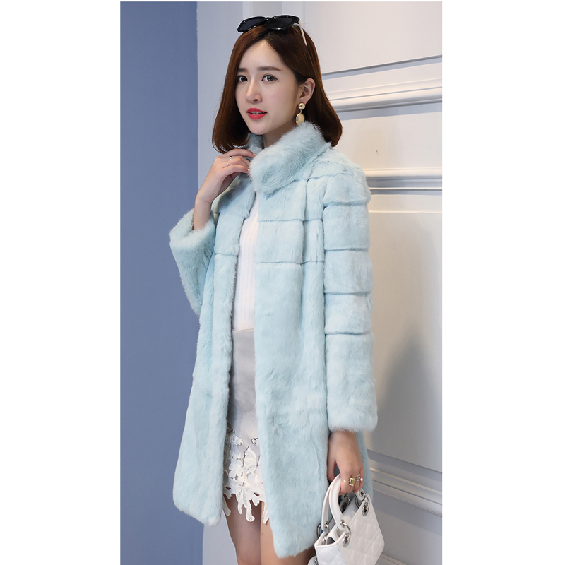 Stand Collar Wave Cut Striped Genuine Rabbit Fur Winter Coat Women Full Sleeve Real Fur Coats And Jackets 2018 New Autumn